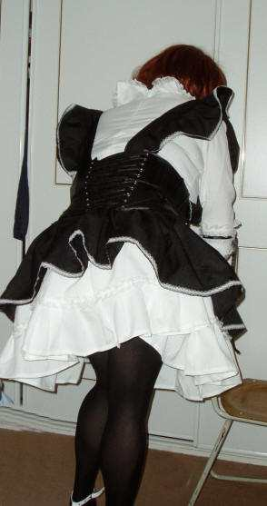 Gothic Maid Cosplay Costume, the back. transgender transsexual cross dresser crossdresser bondage pictures stories fiction story