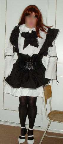 Gothic Maid Cosplay Costume, from the front. transgender transsexual cross dresser crossdresser bondage pictures stories fiction story